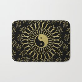 'Yin Yang Golden Daisy' Gold Black mandala Bath Mat
