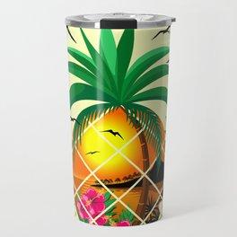 Pineapple Tropical Sunset, Palm Tree and Flowers Travel Mug