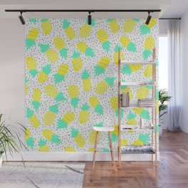 Modern tropical mint yellow pineapples black polka dots pattern illustration Wall Mural