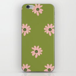 Colorful retro home decor and textile design flower pattern on olive iPhone Skin