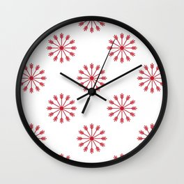 Snowflakes - white and red Wall Clock