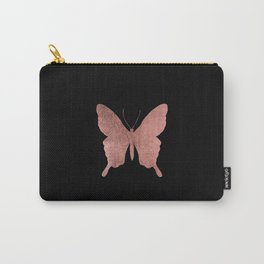 Elegant trendy black faux rose gold butterfly Carry-All Pouch