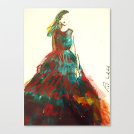 Red And Blue Taffeta Silk Gown High Neck Canvas Print