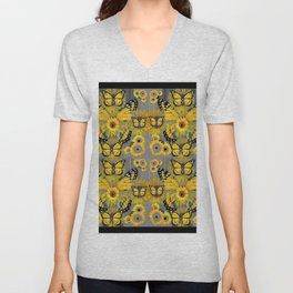 CONTEMPORARY MONARCH BUTTERFLY SUNFLOWERS MONTAGE Unisex V-Neck