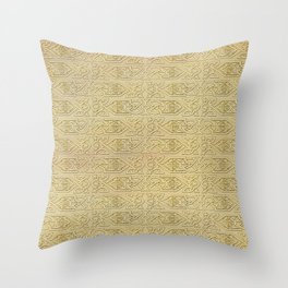 Golden Celtic Pattern on canvas texture Throw Pillow