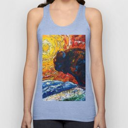 Bison Running print of OLena Art Wild the Storm Oil Painting With Palette Knife #society6 Unisex Tank Top