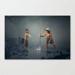 children spear fishing in Cambodia Canvas Print