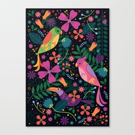 Enchanted Tiki Birds Canvas Print