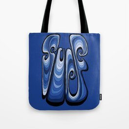 Surf Typography - Deep Blue Tote Bag