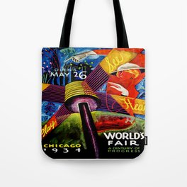 Retro 1934 Chicago World's Fair Travel Poster Tote Bag
