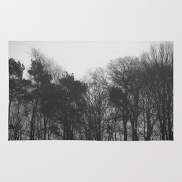 Trees in black and white vintage Rug