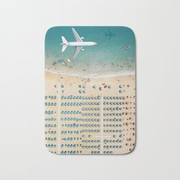 Aerial view airplane flying over the beach in Rimini, Italy Bath Mat