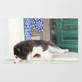 Wall art dog sleeping, street art, Portugal street, I'm lazy today......street dog and azulejos Rug
