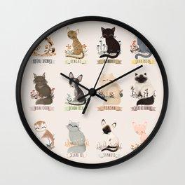 Cats Breed Wall Clock