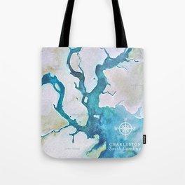 Charleston South Carolina Watercolor Map Typography Art Tote Bag