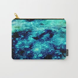 GALAXY. Teal Aqua Stars Carry-All Pouch