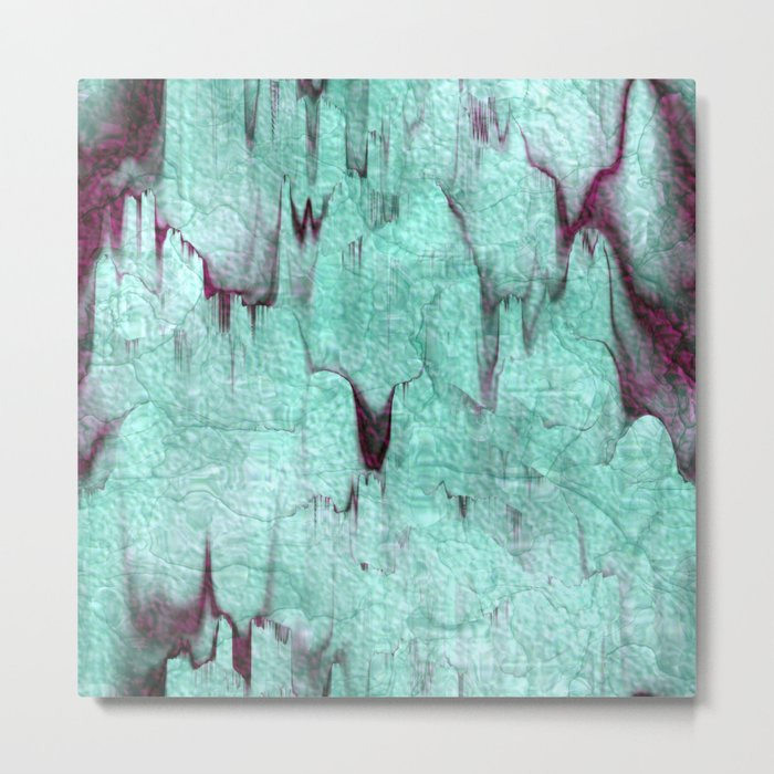 Turquoise rocks with wine red streaks abstract pattern Metal Print