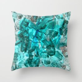 Turquoise Glass Chrystal Abstract Throw Pillow