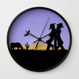Western Cowboy and Cowgirl on the Range Wall Clock