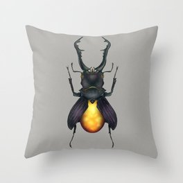 Amber Beetle Throw Pillow
