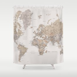 light gray shower curtain. World map with cities in brown and light gray Shower Curtain Taupe Curtains  Society6