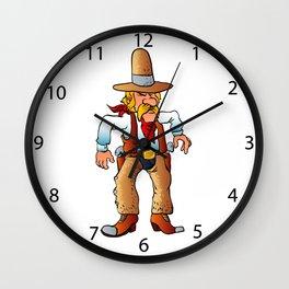 cowboy in duel cartoon Wall Clock