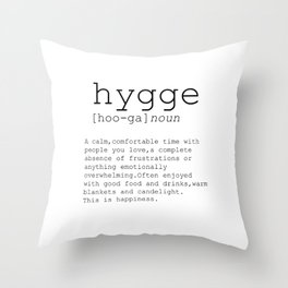 Hygge definition, romantic, dictionary art print, office decor, minimalist poster, funny Throw Pillow
