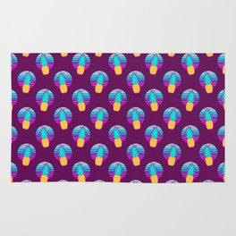 Vaporwave pineapples. Maroon background. Rug