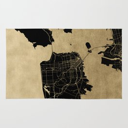 San Francisco California Black and Gold Map Rug