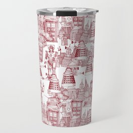 Doctor Who Toile de Jouy | 'Walking Doodle' | Red Travel Mug