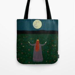 Night Sorceress worshipping the Moon Tote Bag