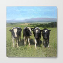 Curious Kiwi Cows Metal Print