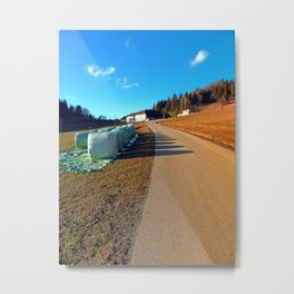 Hay bales along the hiking trail   landscape photography Metal Print