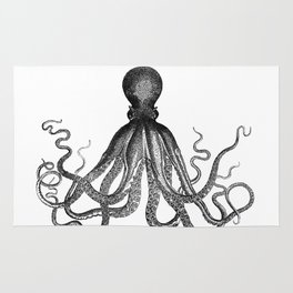 Antique Nautical Steampunk Octopus Vintage Victorian Kraken sea monster emo goth drawing Rug