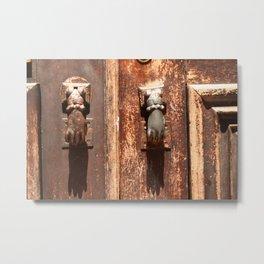 Antique wooden door with hand knockers Metal Print