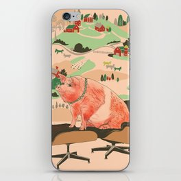 Farm Animals in Chairs #3 Pig iPhone Skin