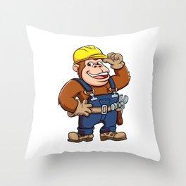 Cartoon of a Gorilla Handyman Throw Pillow