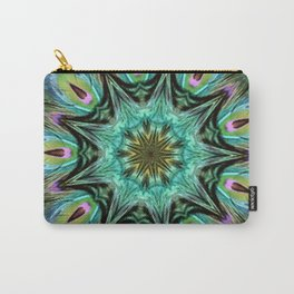 Colorful Peacock Feather Kaleidoscope Carry-All Pouch