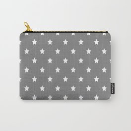 Grey With White Stars Pattern Carry-All Pouch