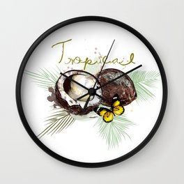 Tropical print with coconut Wall Clock