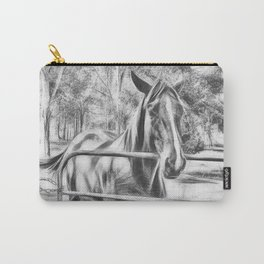 Calm horse standing near gate in Queensland Carry-All Pouch