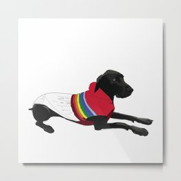Black Great Dane with a sweater Metal Print