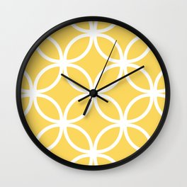 Yellow Geometric Circles Wall Clock