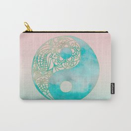 Yin Yang Watercolor Esoteric Symbol teal and soft pink #yinyang Carry-All Pouch