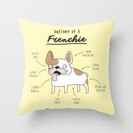 Anatomy of a Frenchie Throw Pillow