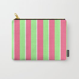 Vintage Victorian Pink Green and White Stripes - Vertical Carry-All Pouch