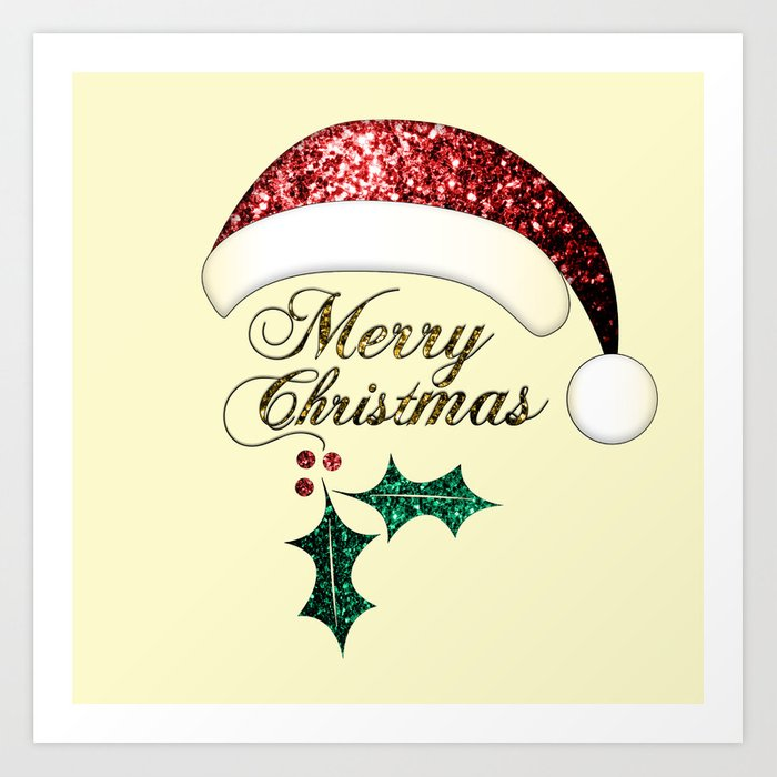 Merry Christmas Santa hat with red, gold and green sparkles Art Print