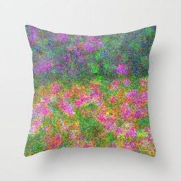 Meadow Pattern With Flowers Throw Pillow