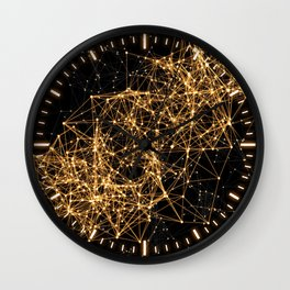 Shiny golden dots connected lines on black Wall Clock
