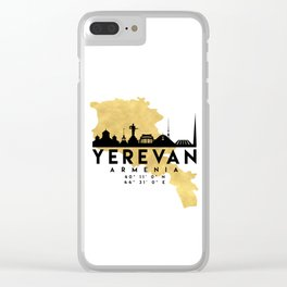 YEREVAN ARMENIA SILHOUETTE SKYLINE MAP ART Clear iPhone Case